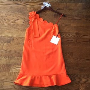 One shoulder orange scallop dress